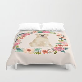 yellow lab floral wreath flowers dog breed gifts labrador retriever Duvet Cover