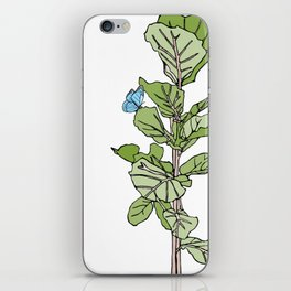 Lined Fig Tree and Blue Butterfly iPhone Skin