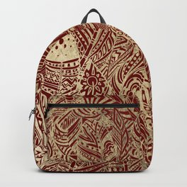 Elegant burgundy chic gold foil bohemian aztec feathers Backpack