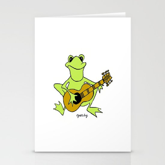 Frog with guitar Stationery Cards