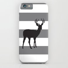 Deer in Black on Grey and White Stripes Slim Case iPhone 6s