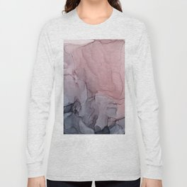 Blush and Gray Flowing Ombre Abstract 1 Long Sleeve T-shirt