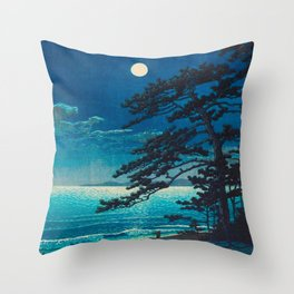 Vintage Japanese Woodblock Print Moonlight Over Ocean Japanese Landscape Tall Tree Silhouette Throw Pillow