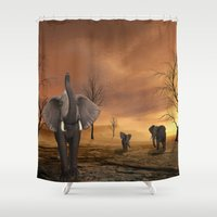elephants Shower Curtains featuring Elephants by Susann Mielke