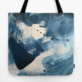 Against the Current: A bold, minimal abstract acrylic piece in blue, white and gold Tote Bag