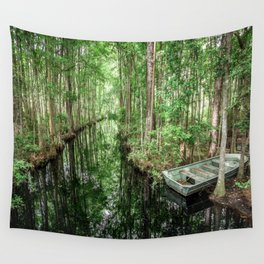 Swamp Boat Wall Tapestry