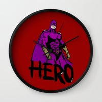 hero Wall Clocks featuring Hero by Logan_J