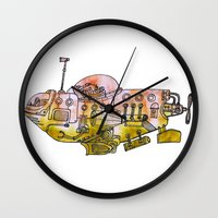 submarine Wall Clocks featuring Submarine  by Joseph Kennelty