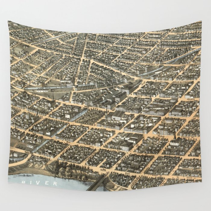 Vintage Pictorial Map of Dayton Ohio (1870) Wall Tapestry