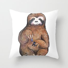 sloth painting nails Throw Pillow