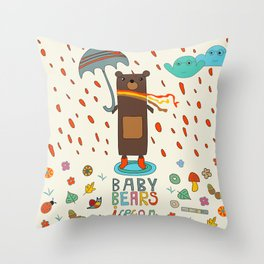 Baby Bears Icecar Throw Pillow