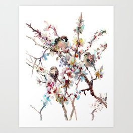 Sparrows and Apricot Tree Blossom Art Print