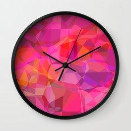 Pink Geometric Polygons Wall Clock