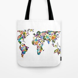 Floral World Map Tote Bag