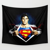 superman Wall Tapestries featuring Superman by DavinciArt