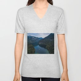 königssee waterfall alps bayern forrest drone aerial shot nature wanderlust boat mountains panorama Unisex V-Neck