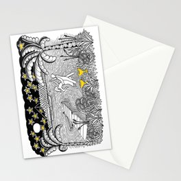 Beach Dancing under Stars Zentangle Style Stationery Cards
