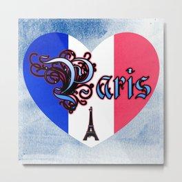 Paris France Heart On Blue Canvas Metal Print