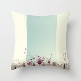 Pink flowers on the white rooftop Throw Pillow