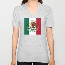 Flag of Mexico with Coat of Arms (augmented scale) Unisex V-Neck