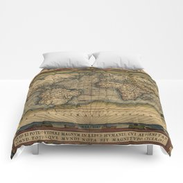Antique Map of North and South America Comforters