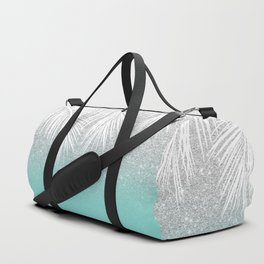 Modern tropical white palm tree silver glitter ombre on robbin egg blue turquoise Duffle Bag