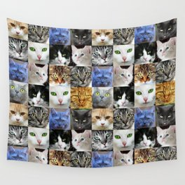 Cat Face Collage Wall Tapestry