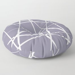 Muddy blue with abstract bone white lines Floor Pillow