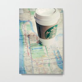 Manhattan and Starbucks Metal Print
