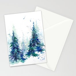 Watercolor winter fir forest Stationery Cards