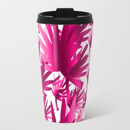 Modern tropical pink fuchsia leaves floral Travel Mug