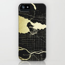 Vancouver Canada Black and Gold Map iPhone Case