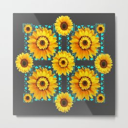 CHARCOAL GREY SOUTHWESTERN SUNFLOWERS ART Metal Print