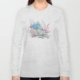 Pretty Pastel Succulents Long Sleeve T-shirt
