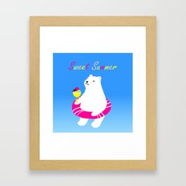 Sweet Summer Polar Bear Framed Art Print