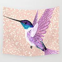 hummingbird Wall Tapestries featuring hummingbird by Lovely and Cute