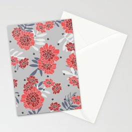Crimson and Silver Floral Stationery Cards
