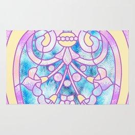 Art Nouveau Blue Pink and Yellow Batik Design Rug