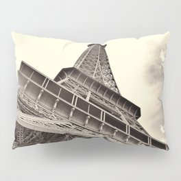 The famous Eiffel Tower in Paris, France in sepia. Vintage photography Pillow Sham