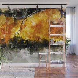 Forest Yellow Mushroom Wall Mural