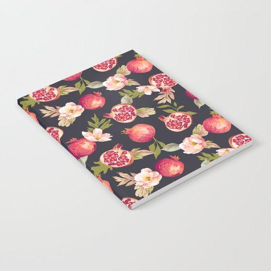 Pomegranate patterns - floral roses fruit nature elegant pattern Notebook