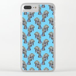 Blue Watercolor Manatee Pattern Clear iPhone Case