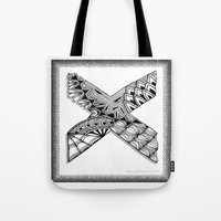 xmen Tote Bags featuring Zentangle X Monogram Alphabet Illustration by Vermont Greetings