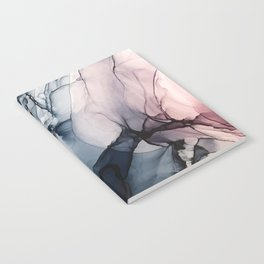 Blush, Navy and Gray Abstract Calm Clouds Notebook