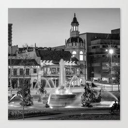 Kansas City Plaza JC Nichols Fountain at Dusk - Square - Black and White Canvas Print