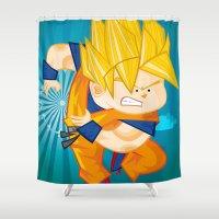 goku Shower Curtains featuring Goku SSJ  by Juan David Giraldo Ramirez
