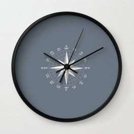 Compass in White on Slate Grey color Wall Clock