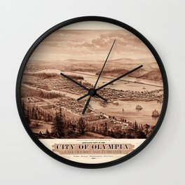 Map Of Olympia 1879 Wall Clock