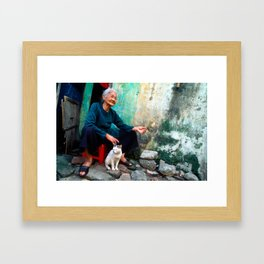 Old Woman with Cat - VIETNAM - Asia Framed Art Print