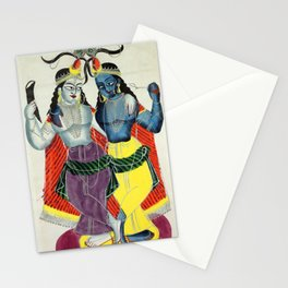 Balarama and Krishna - Vintage Indian Art Print Stationery Cards